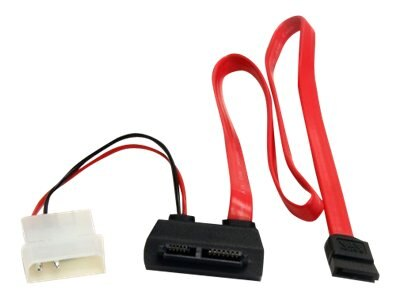 StarTech.com Right Angle Slimline SATA (F) to SATA with LP4 Power Cable, Red, 20in, SLSATAF20RA, 11229636, Cables