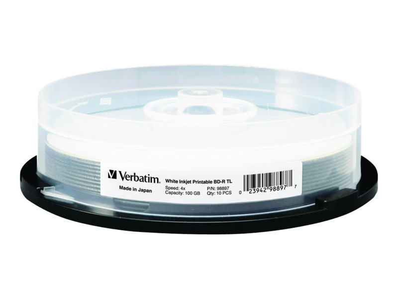 Verbatim 4x 100GB BDR XL White Inkjet Printable Media (10-pack)