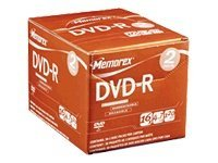 Memorex 4.7GB DVD-R Media (5-pack Slim), 05677, 9355246, DVD Media