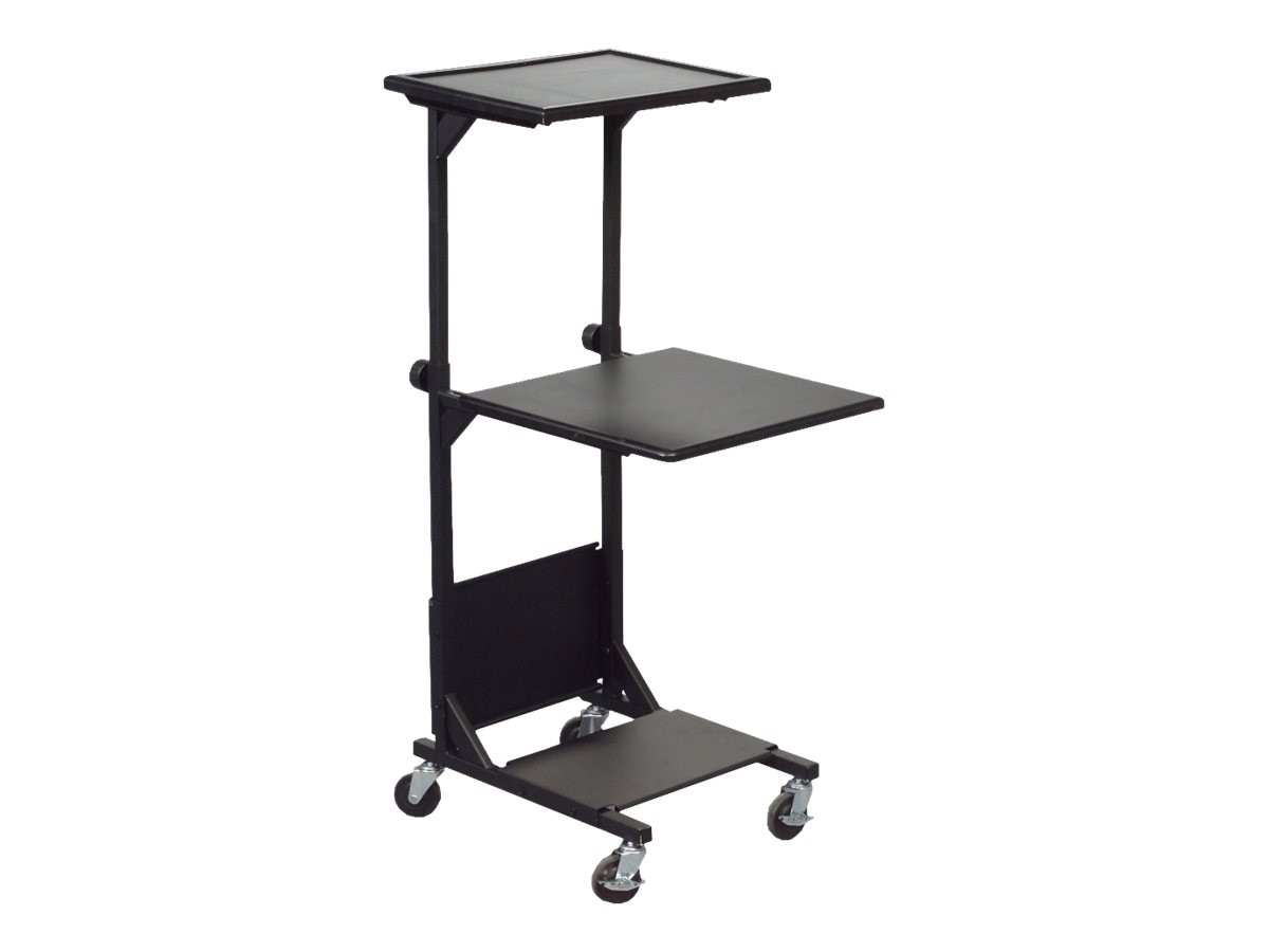 Balt PBL Adjustable AV Cart with 3 Shelves, Black