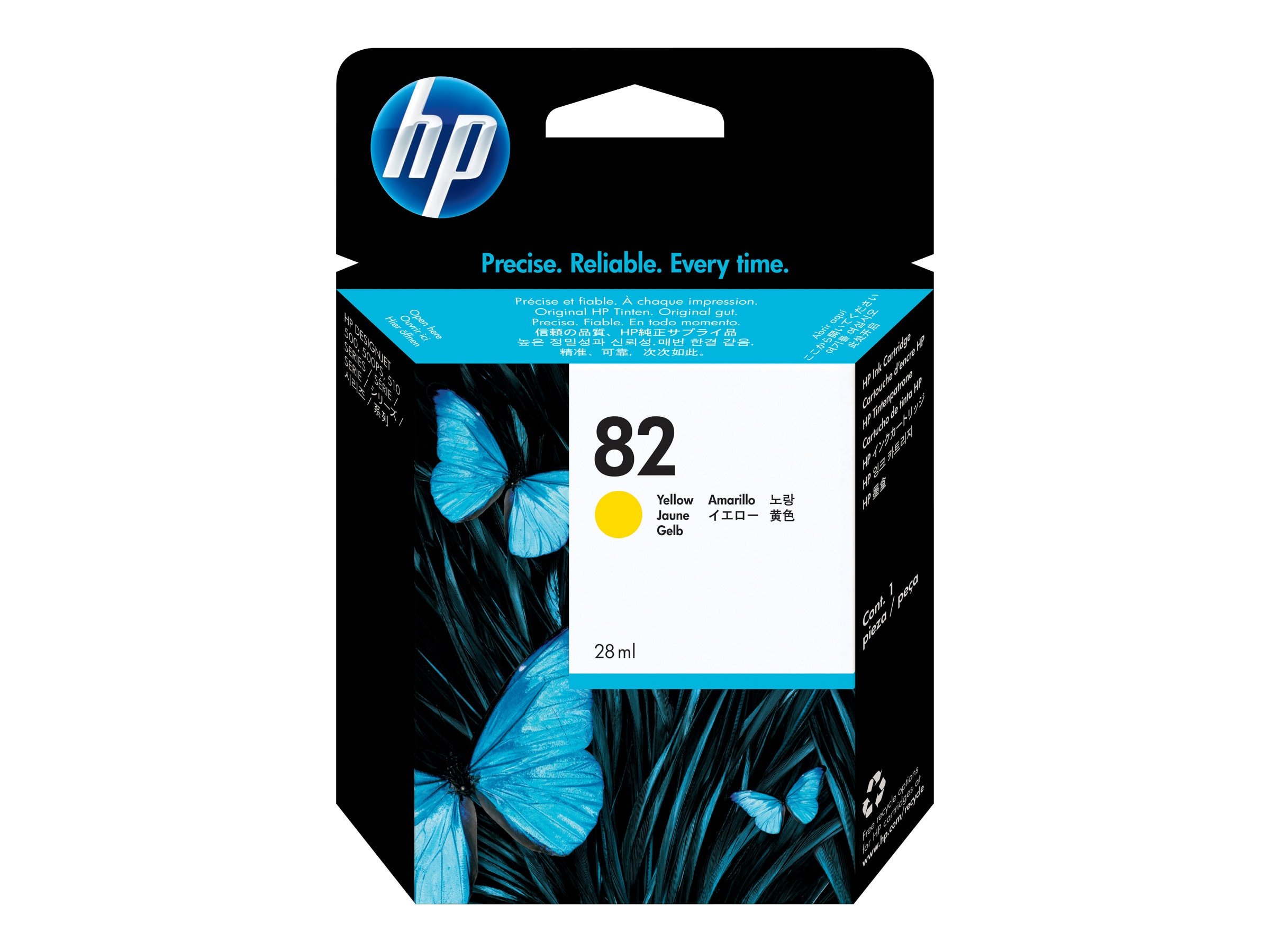 HP 82 Yellow Ink Cartridge for Designjet Printers, CH568A