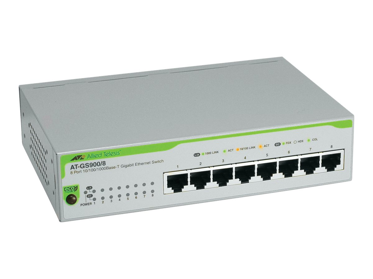 Allied Telesis 8-Port 10 100 1000BaseTX Gigabit Ethernet Unmanaged Switch with European Power Cord, AT-GS900/8-50, 6042965, Network Switches