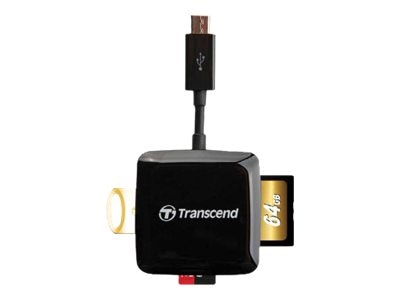 Transcend USB 2.0 OTG Card Reader, Black, TS-RDP9K, 30946809, PC Card/Flash Memory Readers