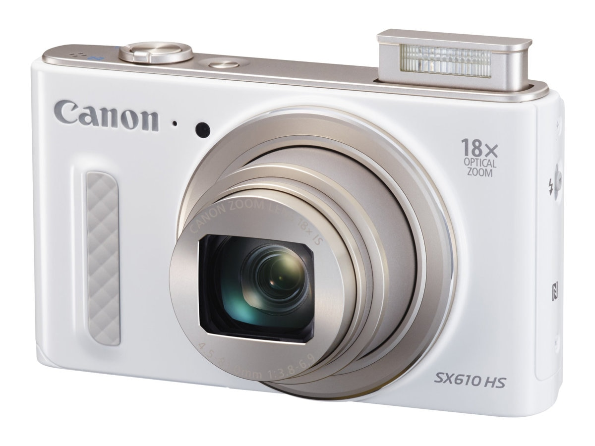 Canon Powershot SX610 HS Camera, 20.2MP, 18x Zoom, White, 0112C001