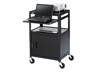 Bretford Manufacturing Adjustable Cabinet Cart with slide-Out shelf, 26-42in