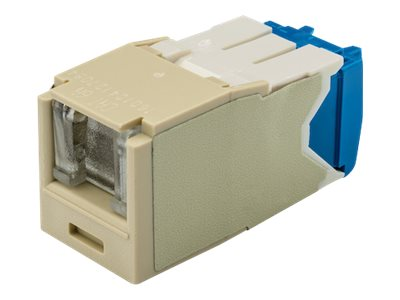 Panduit Cat6A RJ-45 8-position, 8-wire Spring Shuttered Universal Jack Module, Electric Ivory, CJH6X88TGEI