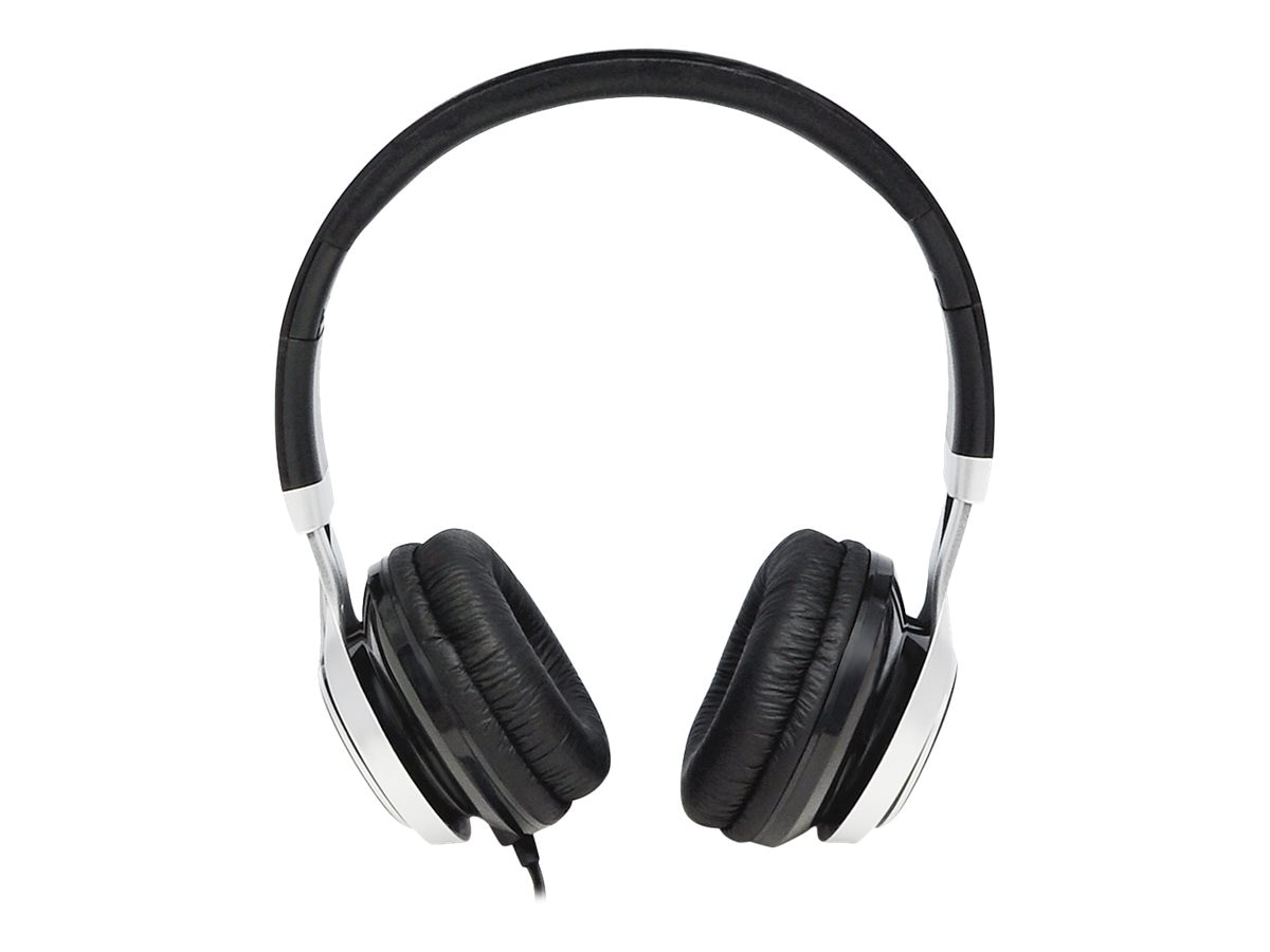 Gear Head Noise Isolating Studio Headphones w  Mic - Black w  Silver Accent, HS3500BLK