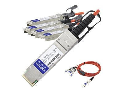 ACP-EP 40GBASE-AOC QSFP+ to 4x SFP+ Direct Attach Active Optical Cable, 3m, QSFP-4X10G-AOC3M-AO, 17772576, Cables