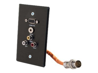 C2G RapidRun Single Gang Integrated HD15 + 3.5mm + RCA Audio Video Wall Plate, Black