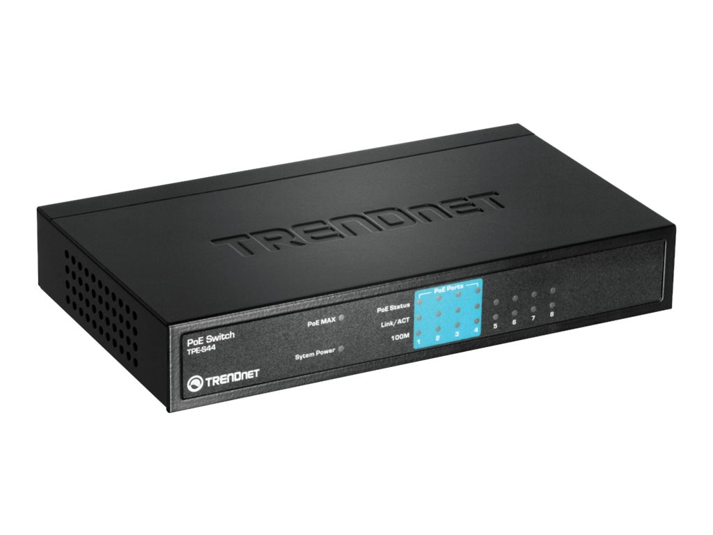 TRENDnet 8-Port 10 100Mbps PoE Switch, TPE-S44, 8549225, Network Switches