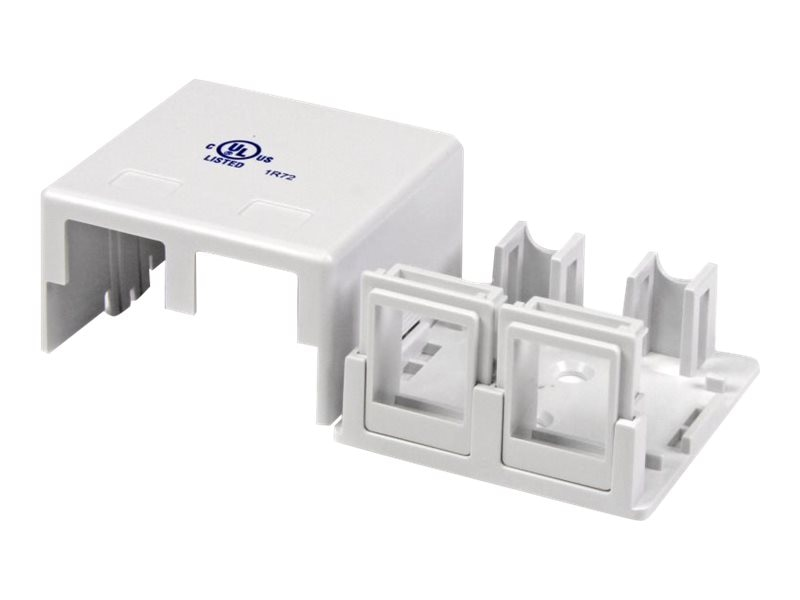 StarTech.com Dual Outlet Universal Wall Box, White, WALLBOX2KWH, 14641167, Premise Wiring Equipment