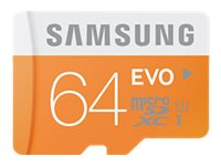Samsung 64GB EVO MicroSDXC Flash Memory Card with USB Adapter, Class 10, MB-MP64DB/AM, 18791023, Memory - Flash