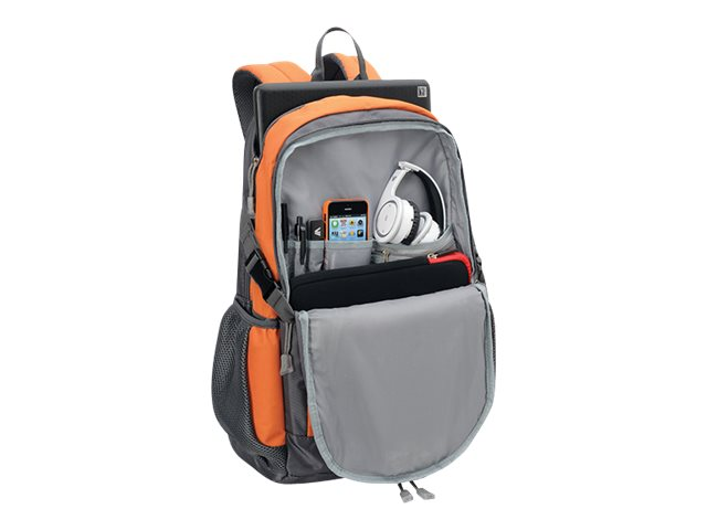 V7 Ergonomic Expedition Style Backpack for 15.6 Notebooks, Gray Orange, CBEX1A-ORG-1N, 15988226, Carrying Cases - Notebook