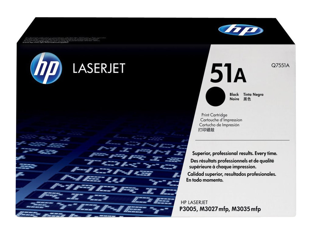 HP 51A (Q7551A) Black Original LaserJet Toner Cartridge for HP LaserJet P3005, M3027 & M3035 Series