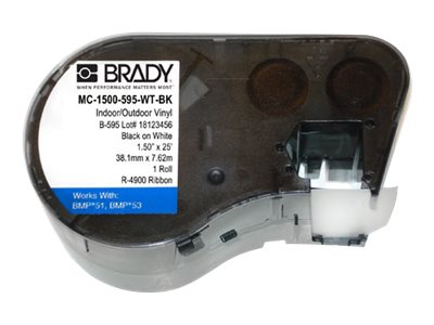 Brady 1 Black On White Wide Continuous Labels, MC-1500-595-WT-BK