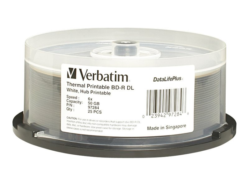 Verbatim 6x 50GB White Thermal BD-R DL Media (25-pack), 97284