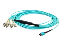ACP-EP MPO to 4xLC Duplex Fanout OM3 LOMM Patch Cable, Aqua, 20m, ADD-MPO-4LC20M5OM3