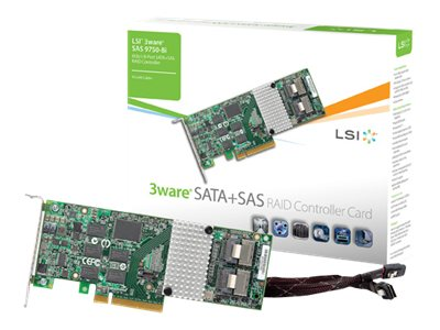 3Ware 8-port SAS 9 Internal SATA 6Gb s + SAS PCIe 2.0 512MB Controller Card, LSI00213, 10886204, Storage Controllers
