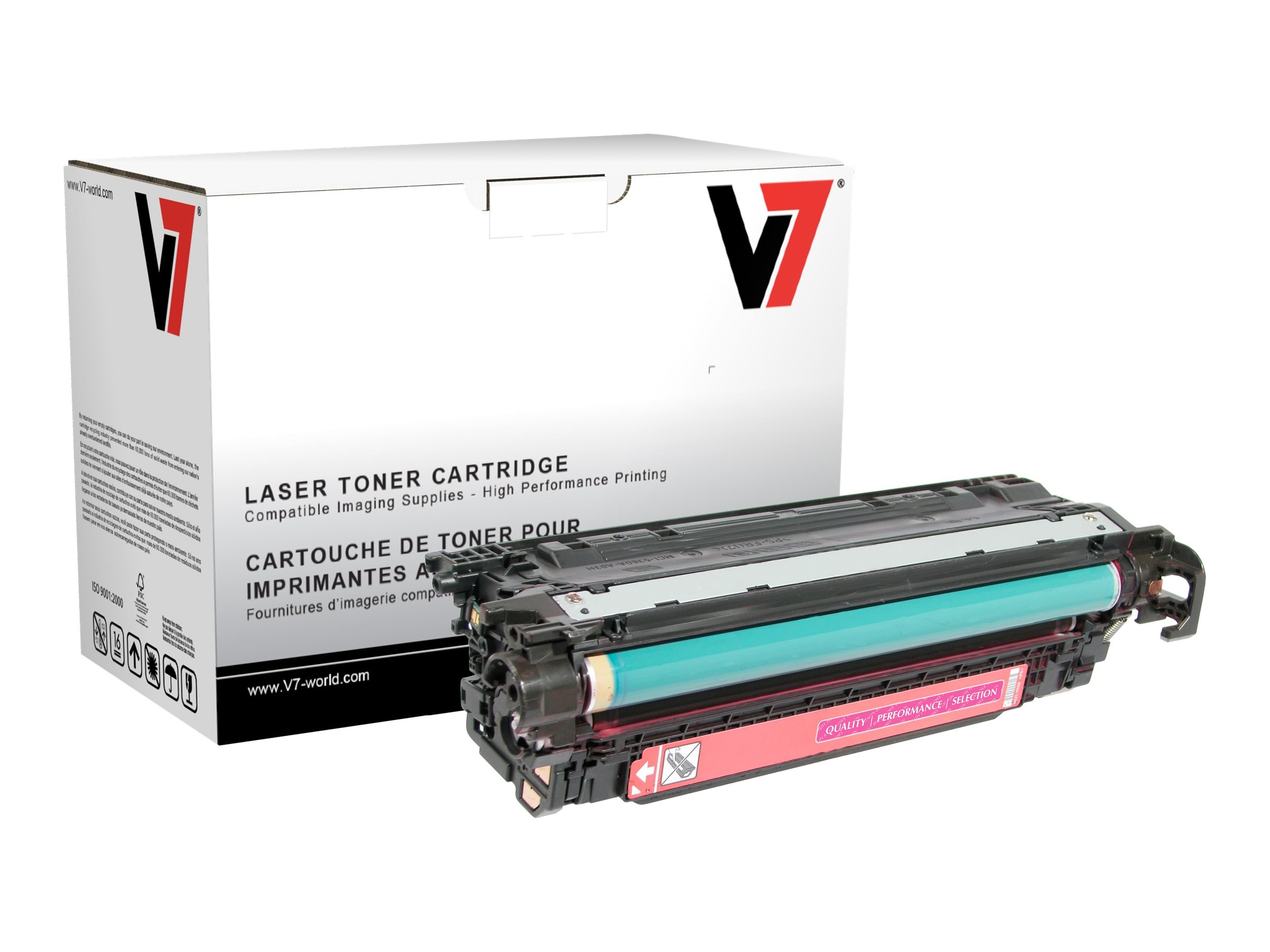 V7 CE253A Magenta Toner Cartridge for HP LaserJet CP3525 (TAA Compliant), THM23525