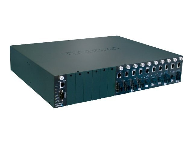 TRENDnet 16 Slots Media Chassis for Trendnet Fiber Converters, TFC-1600, 471085, Network Transceivers