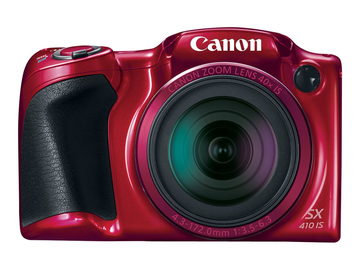 Canon PowerShot SX410 IS Digital Camera, 20MP, 40x Zoom, Red, 0108C001