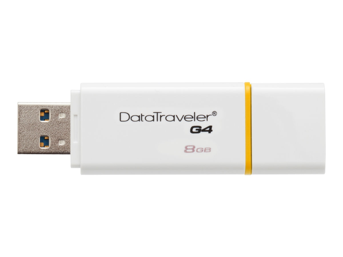 Kingston 8GB DataTraveler G4 USB 3.0 Flash Drive, Yellow, DTIG4/8GB, 16432490, Flash Drives