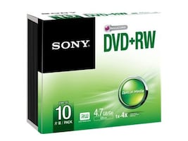 Sony 2x 4.7GB DVD+RW Media (10-pack Jewel Cases), 10DPW47SS, 15780943, DVD Media