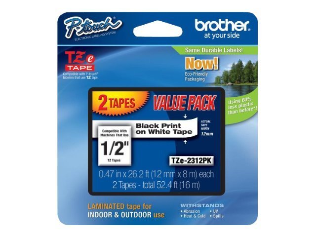 Brother 0.47 x 26.2' TZe231 Black on White Tapes for P-Touch 8m (2-pack)