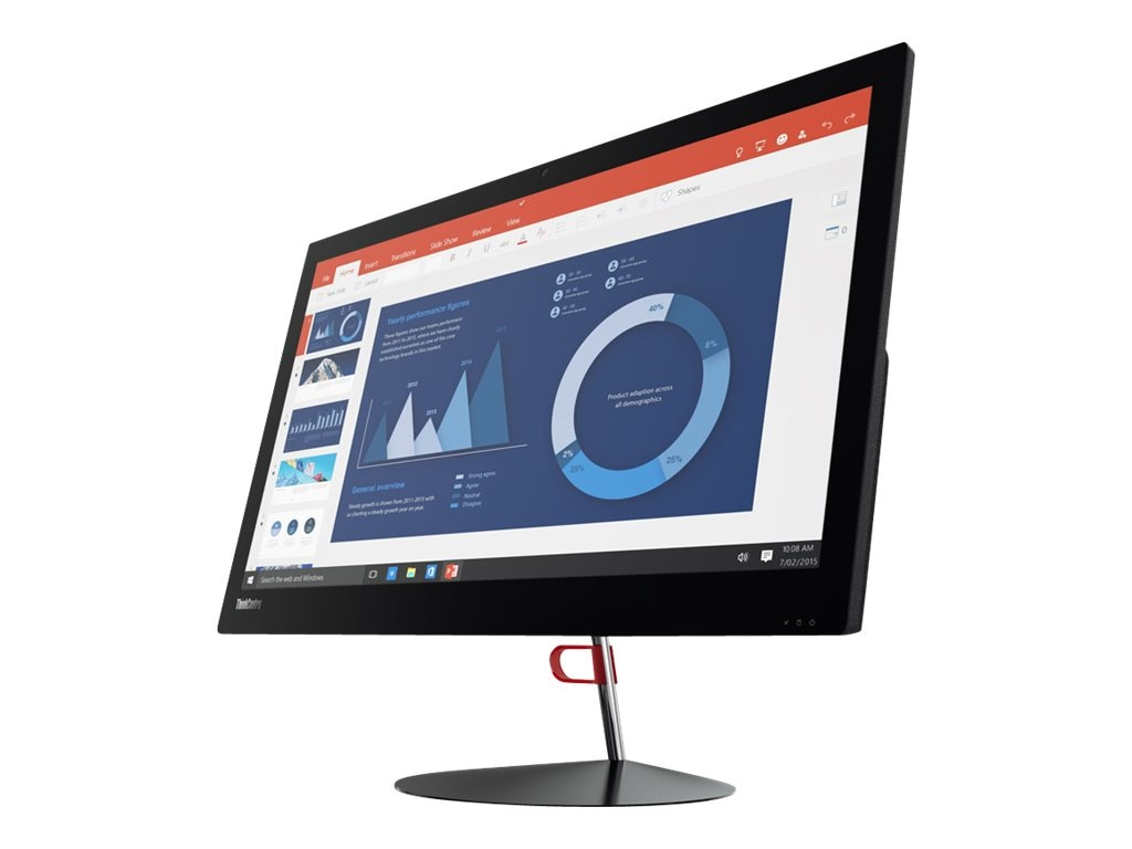 Lenovo TopSeller ThinkCentre X1 AIO Core i5-6200U 2.3GHz 8GB 256GB SSD ac BT WC 23.8 FHD W7P64-W10P, 10KE0007US