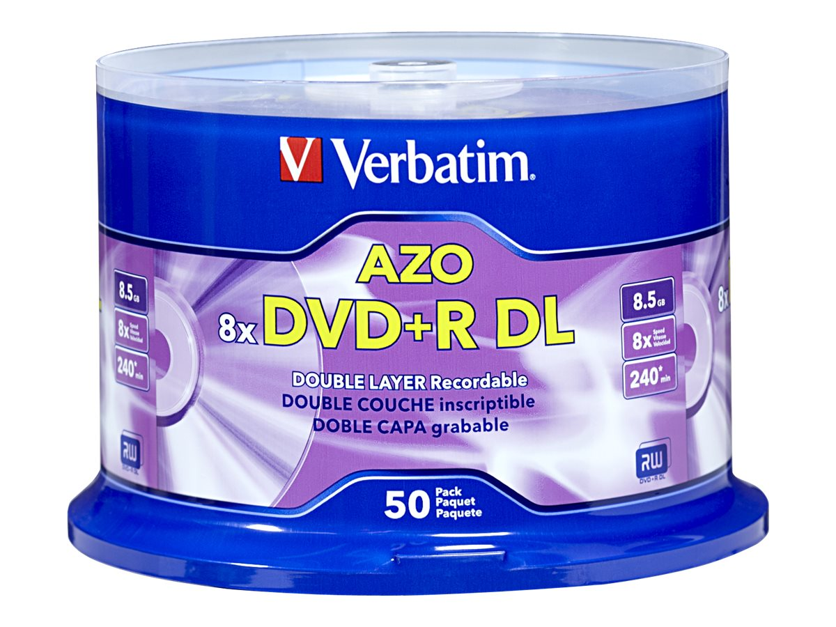 Verbatim DVD+R DL 8.5GB 8X with branded surface 50pk spindle