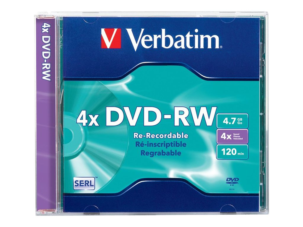 Verbatim 4X 4.7GB Branded DVD-RW Disc (Jewel Case), 94836, 6579965, DVD Media