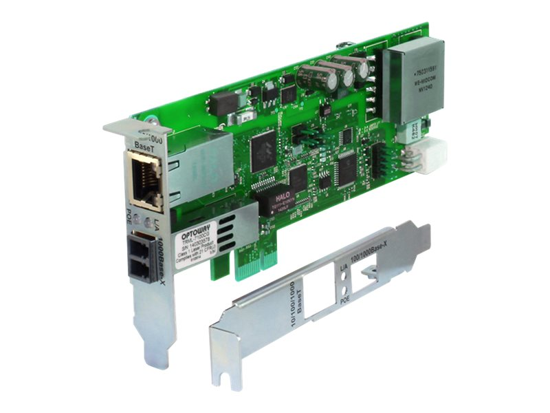 Transition 1-Port GbE RJ-45 PoE+ PCIe NIC w 1000Base-X Open SFP Port