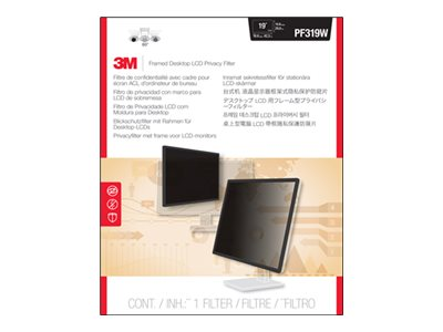 3M 19 Widescreen LCD Privacy Filter, Black, PF319W