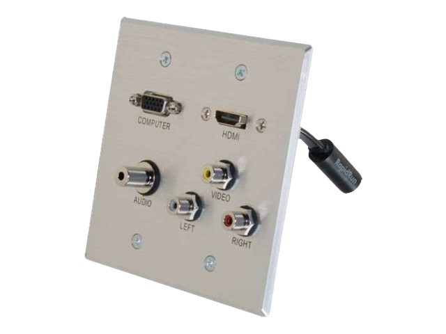 C2G RapidRun HDMI Double Gang Wall Plate w  VGA Stereo Audio, Composite Video Audio, Aluminum
