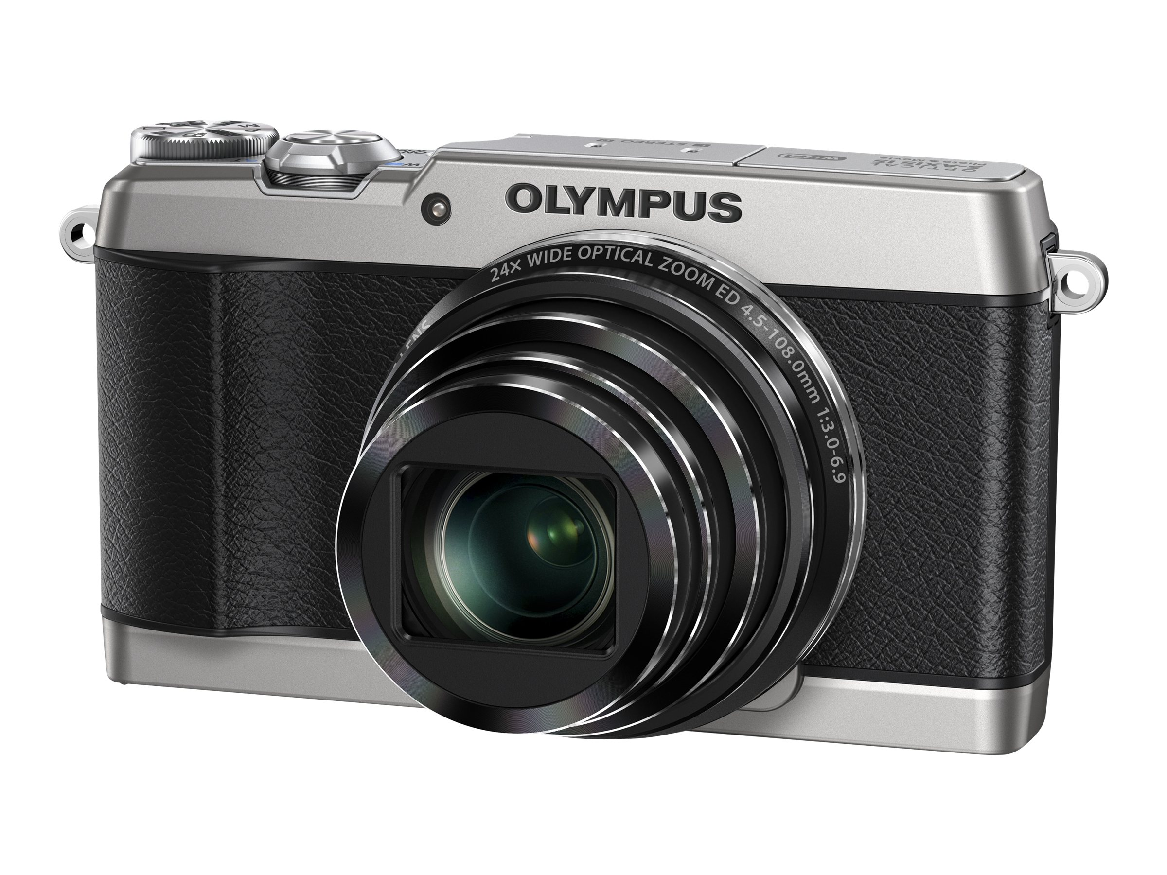 Olympus Stylus SH-1 Digital Camera, 16MP, Silver, V107080SU000, 17051699, Cameras - Digital - Point & Shoot