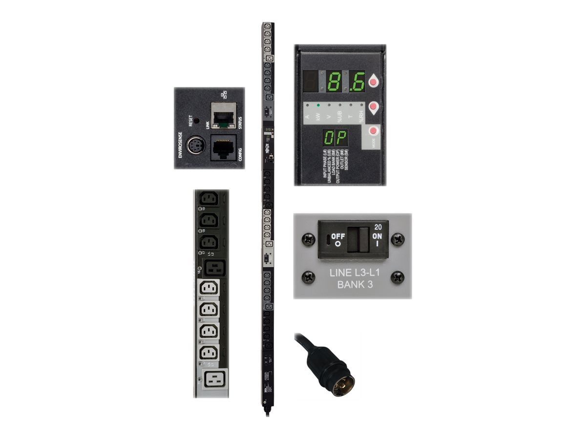 Tripp Lite Switched PDU, 8.6kW, 208V 3-ph 30A, 0U, NEMA L15-30P Input, (24) C13, (6) C19, TAA, PDU3VSR6L1530, 18227326, Power Distribution Units