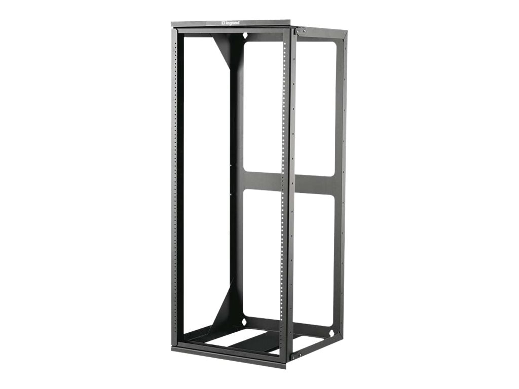 C2G Hinged Wall Mount Open Frame Rack, 25U x 18d, 75lb Capacity, Black