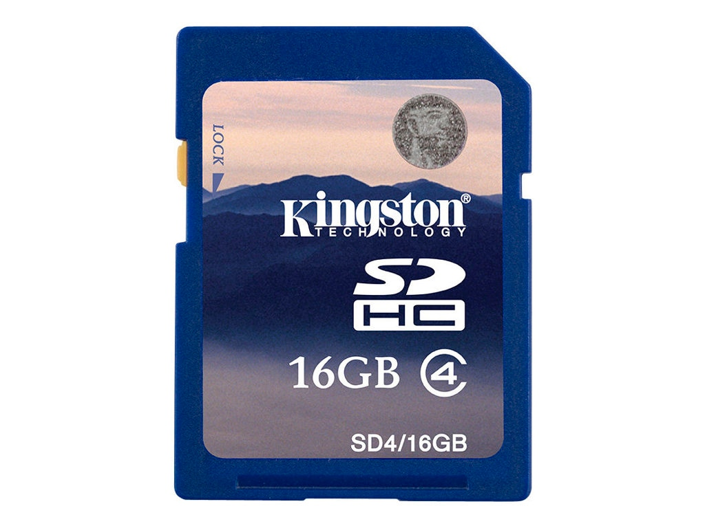 Kingston 16GB SDHC Flash Memory Card, Class 4, SD4/16GB, 8496830, Memory - Flash