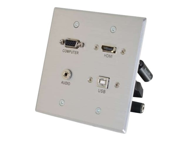 C2G RapidRun HDMI Double Gang Wall Plate with VGA, Stereo Audio and USB, Aluminum