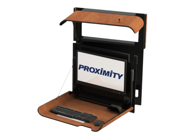 Proximity Classic Series SLIM Wall-Mounted Computer Workstation with Left Swivel, Wild Cherry