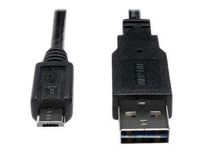 Tripp Lite Universal Reversible USB 2.0 Type A to 5-pin Micro B M M Hi-Speed Cable, 1ft, UR050-001-24G, 18401558, Cables