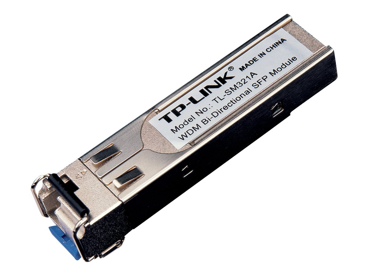 TP-LINK 1000Base-BX WDM Bi-Directional SFP Module, LC Connector, TX:1550nm RX:1310nm, Single-Mode, 10km, TL-SM321A, 13544082, Network Transceivers