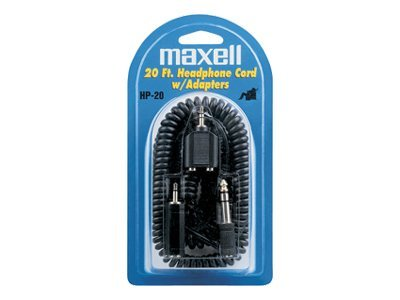 Maxell HP-20 20' Headphone Cord with Adapters, 190399, 4859411, Cables