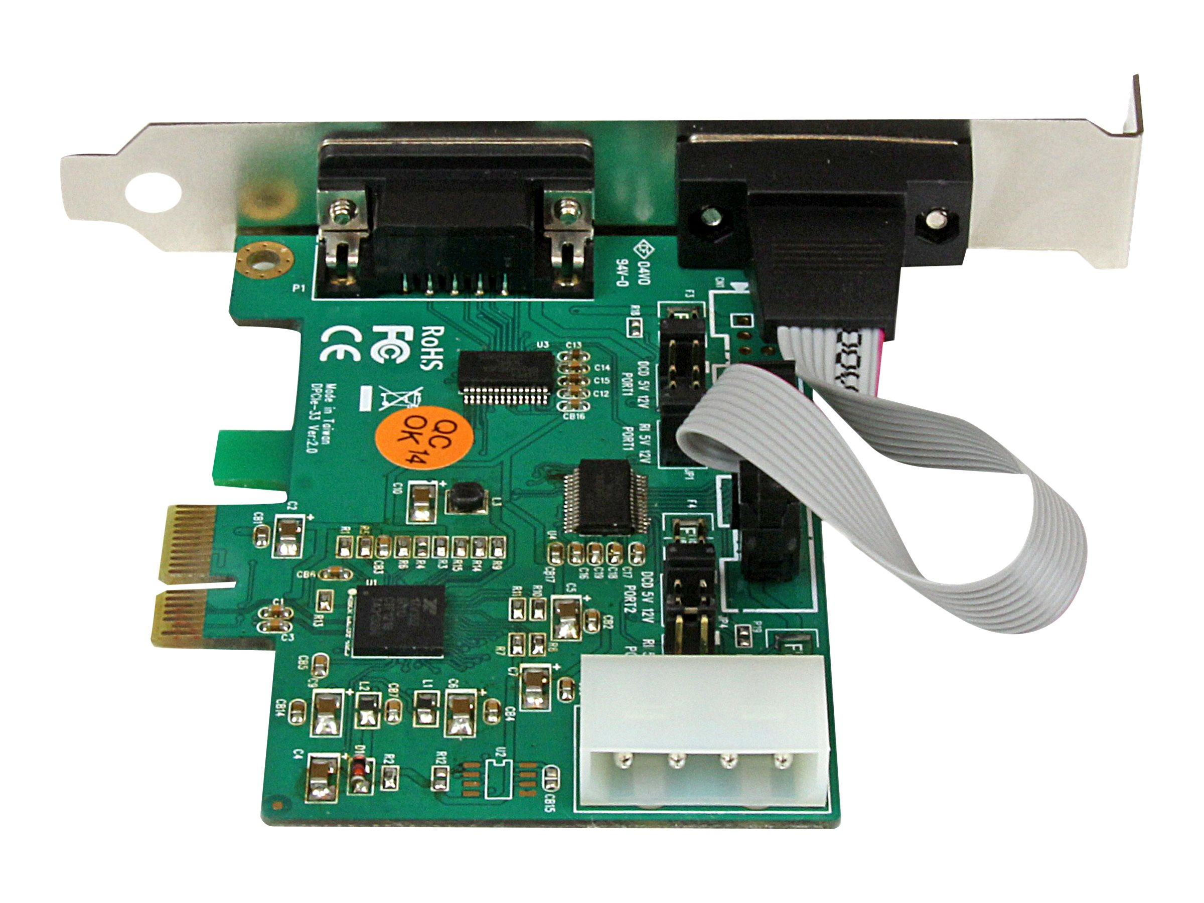 StarTech.com 2-Port Industrial PCI Express (PCIe) RS232 Serial Card w  Power Output and ESD Protection