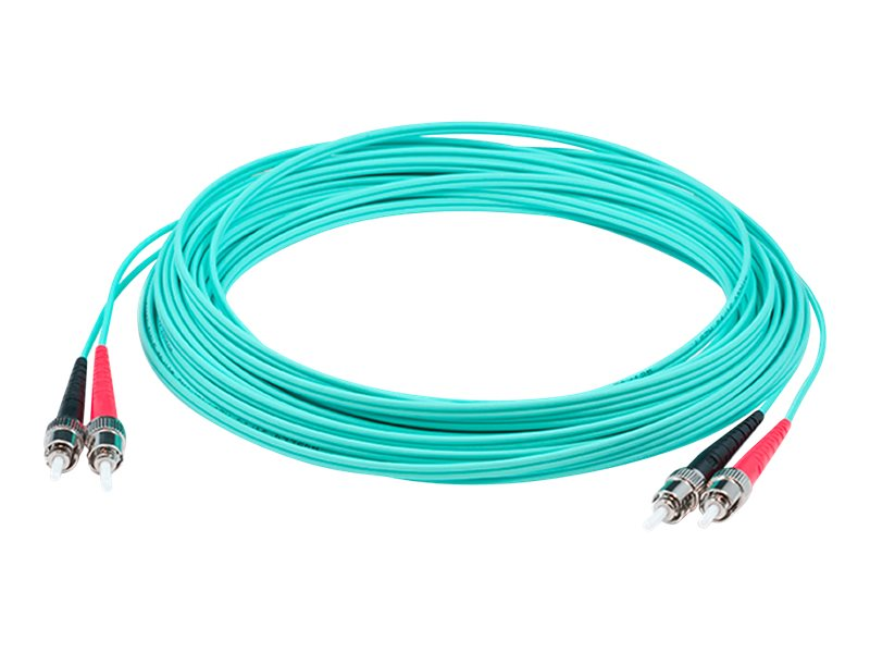 ACP-EP ST-ST OM4 Multimode LOMM Duplex Fiber Patch Cable, Aqua, 2m, ADD-ST-ST-2M5OM4