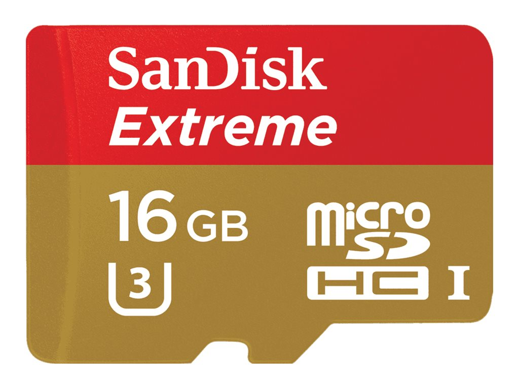 SanDisk 16GB Extreme microSDHC Flash Memory Card, Class 10