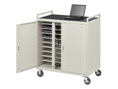 Bretford Manufacturing Notebook Storage Cart for 30 Units, Welded with 5 Casters and Electrical Unit (Rear), LAP30EBA-GM, 4958700, Computer Carts