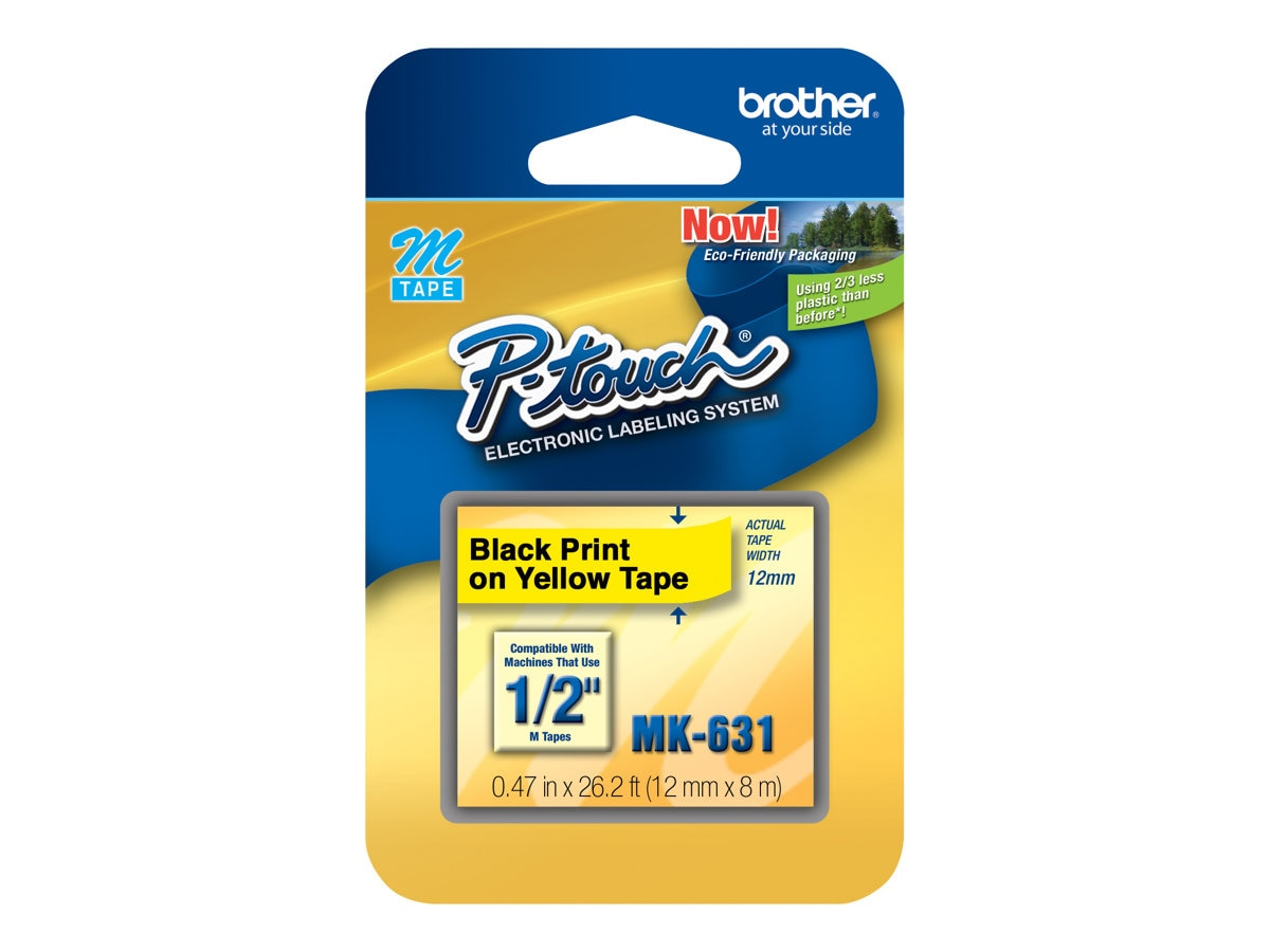 Brother 1 2 Black on Yellow Direct Thermal Tape for PT-65 Electronic Label Printer