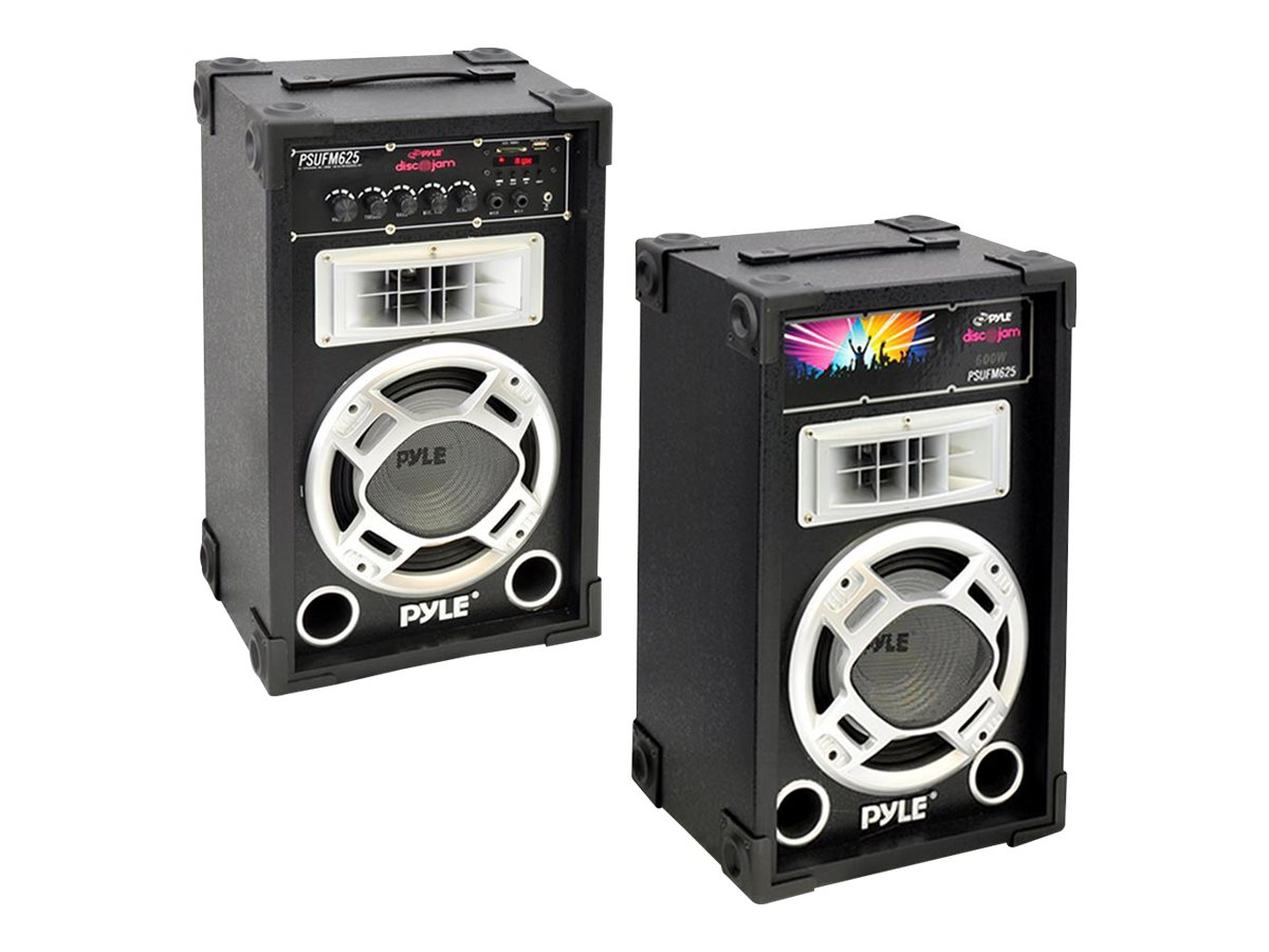Pyle Dual 600 Watt Disco Jam Powered Two-Way PA Speaker System with USB SD Readers, FM Radio, PSUFM625, 16549428, Music Hardware
