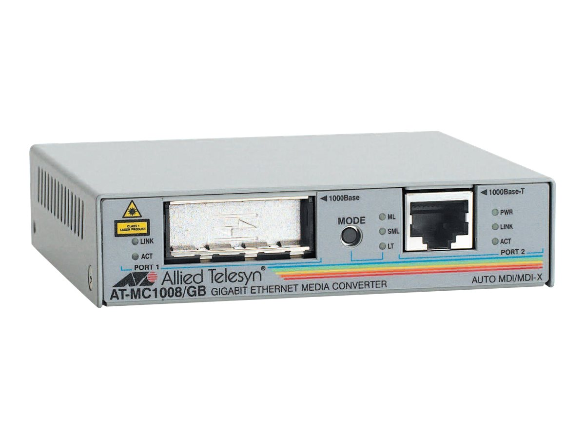 Allied Telesis 1000Mbps Media Converter SFP Optical Fiber Slot, AT-MC1008/SP-60, 10072948, Network Transceivers